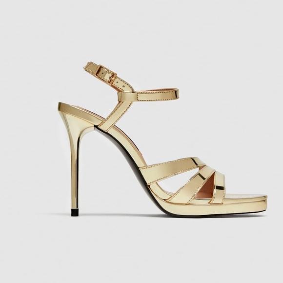 d2efaa178 Zara Shoes | Gold Strappy High Heels Sandals | Poshmark